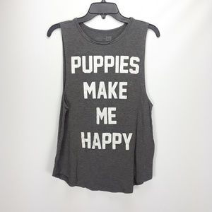 Tops - ☆puppies make me happy muscle shirt☆